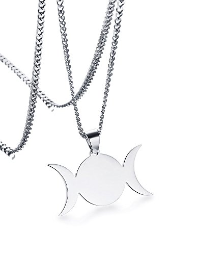 - Stainless Steel Wiccan Triple Moon Goddess Symbol Pendant Necklace Jewelry for Men Women,24