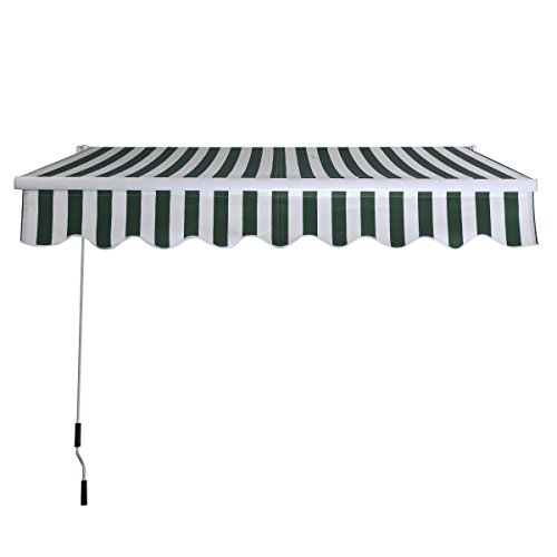 Goplus Manual Patio 6.4'×5' Retractable Deck Awning Sunshade Shelter Canopy Outdoor New (Stripe Green & White)