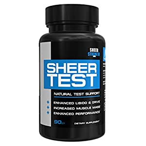 Sheer Testosterone Booster for Men - Natural Supplement for Increasing Strength, Stamina, and Energy, 90 Testosterone Boosting Capsules, 30 Day Supply