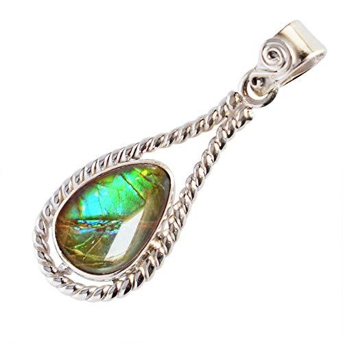 Ravishing Impressions Canadian Natural Ammolite Blue Green Flashy Fire Gemstone Pendant, 925 Sterling Silver, Girls Pendant, Ammonite FSJ-3699