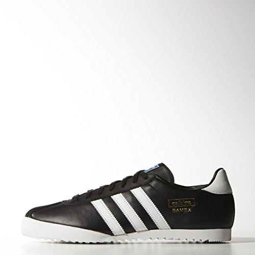 Scarpe Da Calcio Da Calcio Indoor Adidas In Pelle Nera Tessile - Nero / Bianco - Taglie Uk 6 ? 2