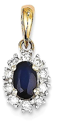 ICE CARATS 14k Yellow Gold Diamond Sapphire Pendant Charm Necklace Gemstone Fine Jewelry Gift Valentine Day Set For Women Heart (Diamond I1 Necklace)