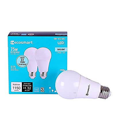 EcoSmart 75W Equivalent Daylight A19 Dimmable LED Light Bulb (2-Pack)