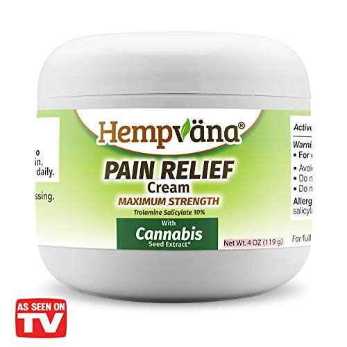 As Seen On TV Hempvana Pain Relief Cream with Cannabis Seed Extract - Relieves Inflammation, Muscle, Joint, Back, Knee, Nerves and Arthritis Pain - Made in USA 4oz Paraben Free, Vegan, Cruelty-Free