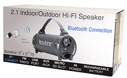 Boytone Portable Indoor/Outdoor Speaker Cylinder with Built-in Sub and SD USB, USB Charger, Built in Rechargeable Battery