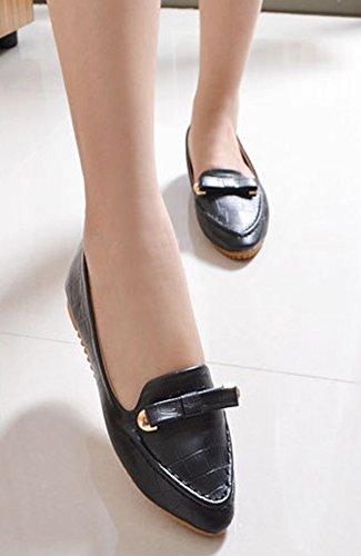 Aisun Womens Confortable Slip Sur Bout Pointu Mocassins Plats Avec Des Arcs Noirs