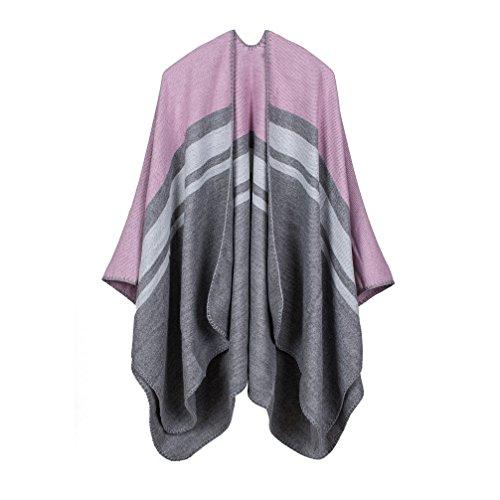 (Bakerdani Women Knitted Cashmere Poncho Capes Shawl Cardigans Sweater Coat)