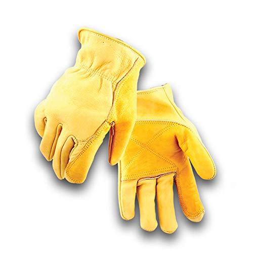 Golden Stag Double Palm Cowhide Glove, Driver Glove, Heavy Duty, Rolled Cuff, Working Glove, XX-Large, - Gloves Palm Cowhide Double