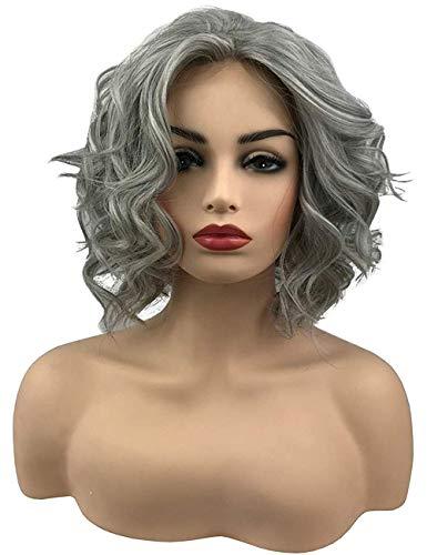 TopWigy Short Bob Lace Front Wigs Wavy Grey Synthetic Heat Resistant Mid Length Big Loose Wavy Frontal Wig Short Realistic Wig (Grey 14