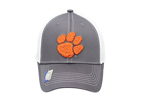 Clemson Tigers Hat (Captivating Headgear Collegiate Headwear Men's Clemson Tigers Embroidered Grey Ghost Mesh Back Cap)