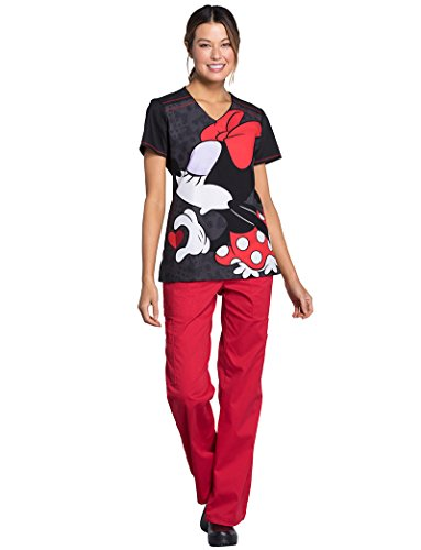 Cherokee Tooniforms by Women's V-Neck Knit Pane Mickey Mouse Print Scrub Top 2XL -