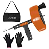 Drainx Power Pro 25-FT Steel Drum Auger Plumbing Snake with Drill Adapter | Heavy Duty Drain Snake Cable with Work Gloves and Storage Bag