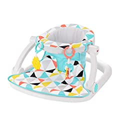 The Fisher Price Sit Me Up Floor Seat is relaxing for your baby and so convenient for you!Its soft fabrics and wide basehelp support your little one comfortablyas you sit them up to interact with the world around (Hello, world!). And the b...