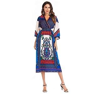 Palalibin Women Dress, Boho Vintage Printed Long Sleeve Slim Beach Dress