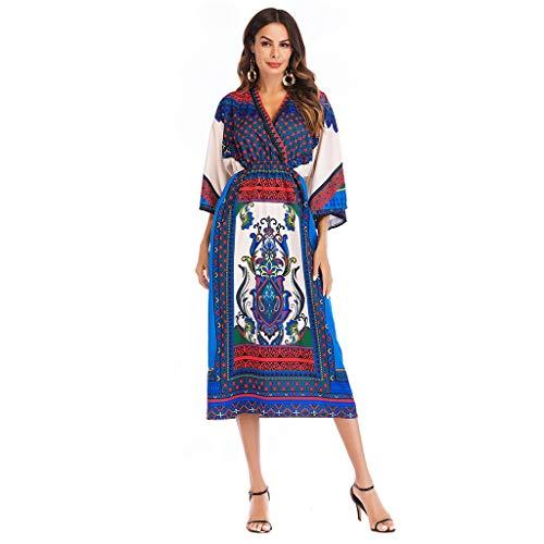 Snowfoller Vintage Women Boho Floral Printed Nightgown Dress Summer V-Neck Loose Beach Dress]()