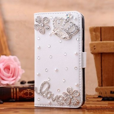 Galaxy J7 Prime Wallet Case,Berry Handmade 3D Bling Crystal Rhinestone White Leather Flip Card Pouch Stand Case for Samsung Galaxy Galaxy J7 V / J7 Pe…
