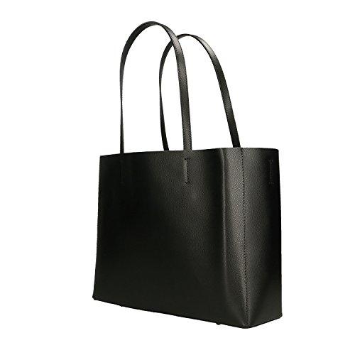 véritable en en Italie Borse Cm Chicca cuir à Femme Noir 38x30x12 Sac main fabriqué xx1qwBSa