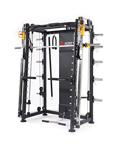 ALTAS Strength AL-3000F Multi Function Smith Machine Black and Yellow 2000IB Workout Light Commercial Fitness Equipment