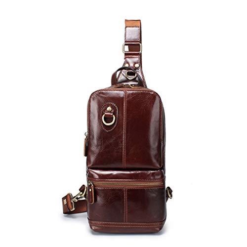 Men Chest Pack Single Shoulder Strap Back Sling Bag Genuine Travel Men Crossbody Bags Vintage Chest Bag Brown (Tamrac Strap Brown)