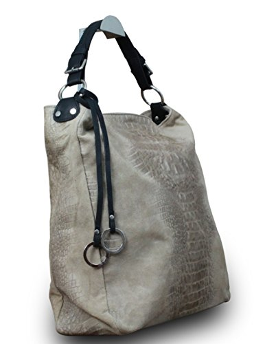 Borsa A Tracolla Da Donna Di Lusso Made In Italy Shopper Xl Borsa In Vera Pelle Di Alligatore Nubuck Timbro Naturale