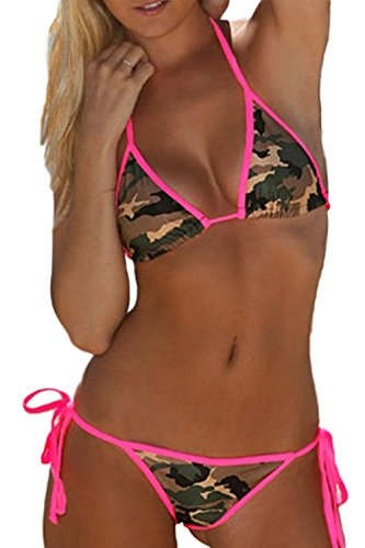 Women's Sexy Lace Camouflage Beach Bikini Camouflage M ()