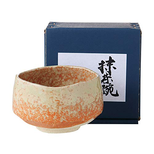 "Orange Minoyaki Matcha Bowl ""Ochawan"" with Green Accents Made in Japan ()"