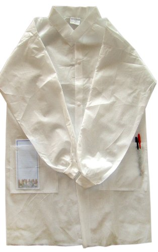 Disposable Turndown Collar Lab Coat, Size S, 10 pcs/Box Disposable Lightweight Lab Coats