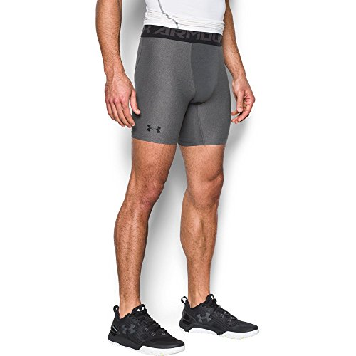 Under Armour Men's HeatGear Armour Mid Compression Shorts, Carbon Heather/Black, Large (Under Armour Performance Short Mens)