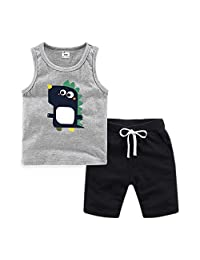 Kids Cotton Tank Top Undershirts Summer Kids Comfortable Casual CottonTank Top Short Set Round Neck Slim Cute Cartoon Printed Sports Vest Suit Girls Tank Tops with Pants for Boys or Girls