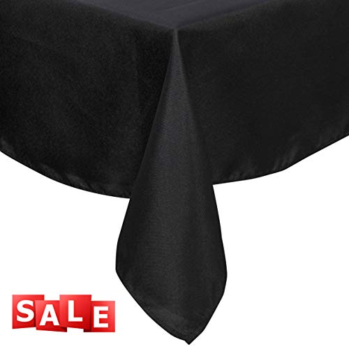 Lightweight Rectangle Tablecloth Polyester Table Linen - Stain Resistant Washes Easily Halloween Thanksgiving Christmas Family Dinner Wedding Parties Restaurant Banquet (BLACK, Rectangular 60