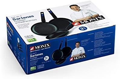Monix M811200 MB Martín Berasategui Lot de 3 poêles en aluminium forgé avec revêtement anti-adhésif sans PFOA, passent au lave-vaisselle, Noir, 18 – 22 – 26 cm