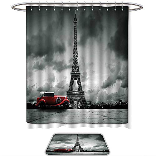 QINYAN-Home Pattern Printing Suit Eiffel Tower Decor Artistic Image Effel Tower Paris France Vintage Car Street Dark Clouds Grey Red. Bath Towels Sets(Ten Sizes Select)