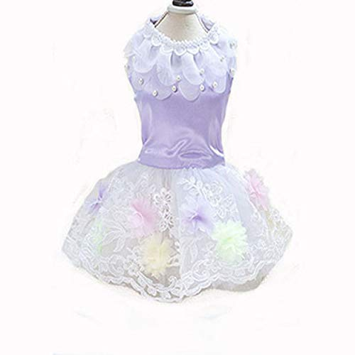 YOTATO Summer Pet Dog Lace Dress Clothes Skirt Flower Princess Weeding Dress for Small Dogs ()