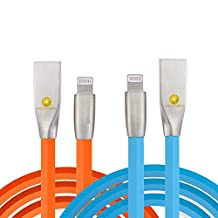 3ft (1m) Durable TPE Diamond Design Zinc Alloy USB to Lightning Cable Sync / Charge Cord (2PACK) for iPhone 7/7 Plus, 6S/6S Plus, iPad (Blue Orange)