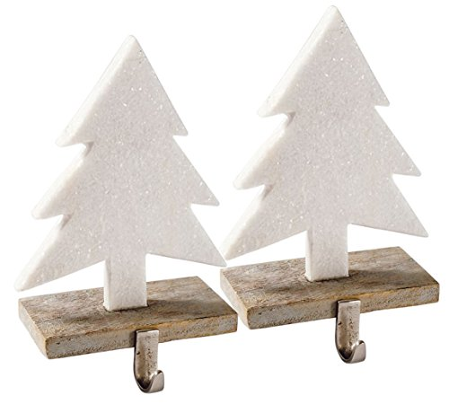 - Glittery Marble Christmas Tree Stocking Holder - Set of 2