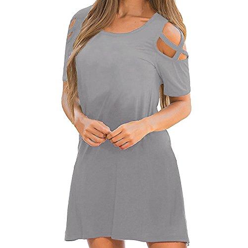 Women's Dress Clearance Sale,Farjing Women Summer Cross Short Sleeve Off Shoulder T-Shirt Dress(M,Gray)