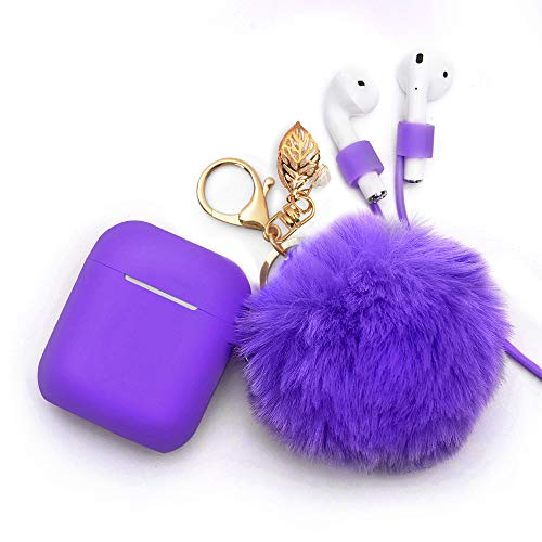 Airpods Case Keychain, BLUEWIND AirPod Charging Protective Case, for Apple Airpods 2 & 1 Charging Case, Portable Carrying Earpods Case Strap, Keychain, Soft Fluffy Ball (Purple)