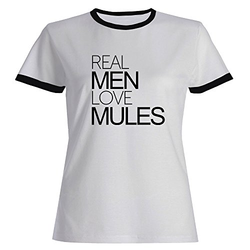 Mule Ringer (Idakoos - Real men love Mule - Animals - Ringer Women T-Shirt)