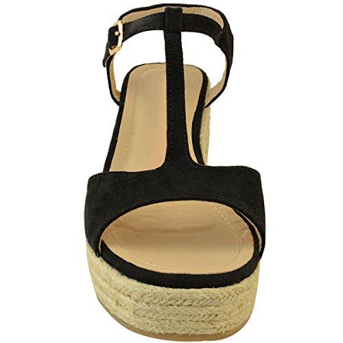 Size Black Flatform Strap Suede Wedge Sandals Faux Demi Low Heel Thirsty Womens Platform Ankle Fashion Mid xAYwOq7RT