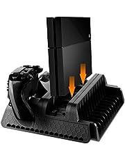 Cozime Ps4\Ps Slim\Ps Pro Staffa Antislittamento Stand Verticale con Ventola di Raffreddamento Dual Controller Base di Ricarica Può Contenere 12 Giochi