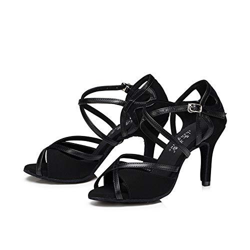 Dance Mujer Baile QXH de Latin Tacones Black6cm Zapatos PU Sandalias Banquete Altos de Cw8fqT8