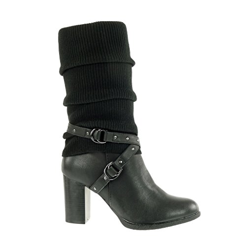 Angkorly - Women's Fashion Shoes Boots - biker - cavalier - bi material - crochet - thong - studded Block high heel 8 CM Black lRmZZZ