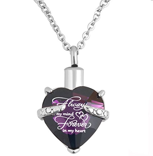 PREKIAR Heart Cremation Urn Necklace for Ashes Urn Jewelry Memorial Pendant with Fill Kit and Gift Box - Always on My Mind Forever in My Heart (Purple)