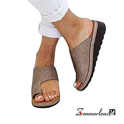 5814f0670 Amazon.com: Zoomarlous 2019 New Women Comfy Platform Sandal Shoes Summer  Beach Travel Shoes Fashion Sandals Comfortable Ladies Shoes(Khaki,37):  Garden & ...
