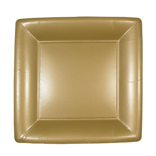 Lillian 24-Pack Square Paper Plates, 7-Inch, Gold -