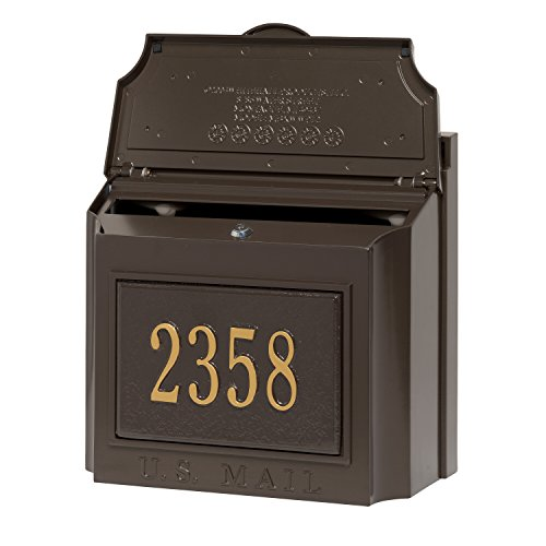Customized Cast Aluminum Wall Mailbox with Custom Address Numbers Plaque 15''H x 14.5''W x 8''D by Whitehall (Image #1)