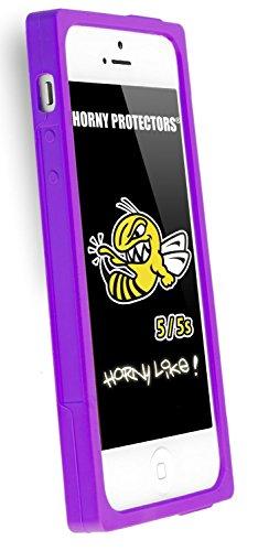Horny Protectors® Schutzhülle Cover Case Retro Style Kassette für Apple iPhone 5/5S Lila Silikon