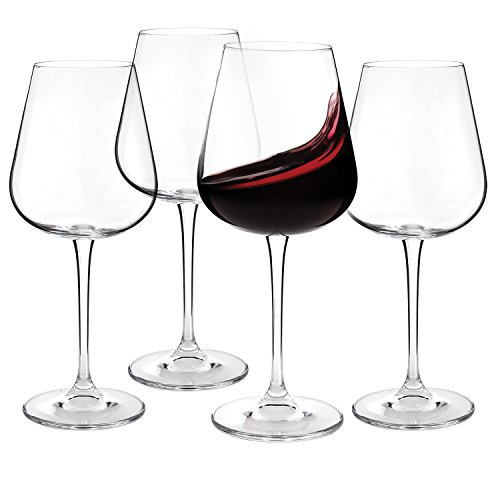 Crystal Red Wine Glasses - Set of 4 - Lead-Free Glass Imported From The Czech Republic- 450ml (15.2 oz.) (Set Wine Crystal)
