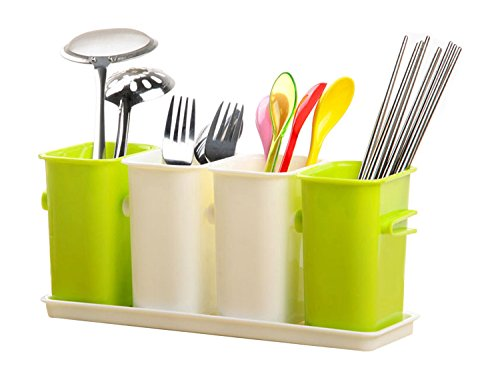 Honla Interlocking Plastic Flatware Caddy Organizer on Tray,Silverware,Cutlery,Utensil Drying Rack Holder for Kitchen Countertop Dining Table Storage,4 Compartment Drainer,Lime Green and Cream -