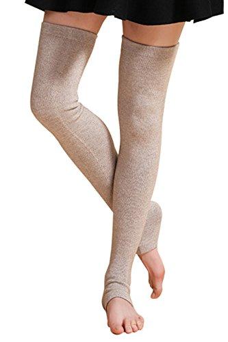 - NOVAWO New Cashmere Over Knee Leg Warmers Warm Knit Boots Socks